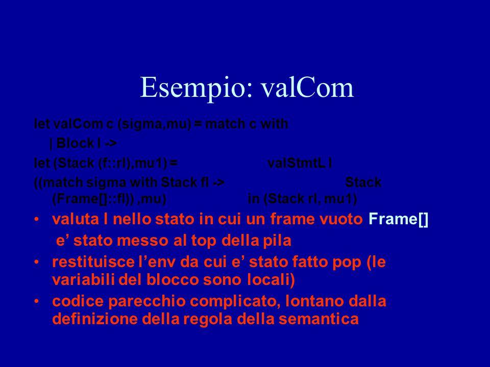 Esempio: valCom valuta l nello stato in cui un frame vuoto Frame[]